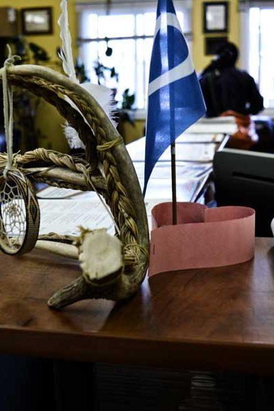 Blue Metis Nation flag beside a piece of artistic driftwood